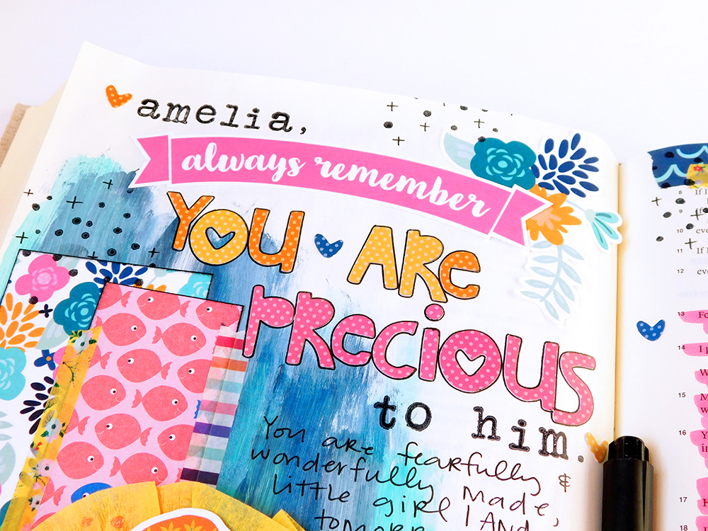 hybrid printables mixed media bible journaling entry by Elaine Davis | Dear Mimi, You Are Precious to Him