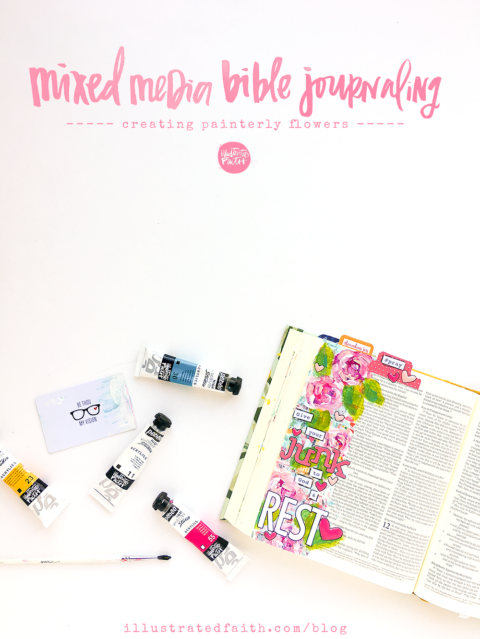 Mixed Media Bible Journaling Tutorial: painting painterly flowers
