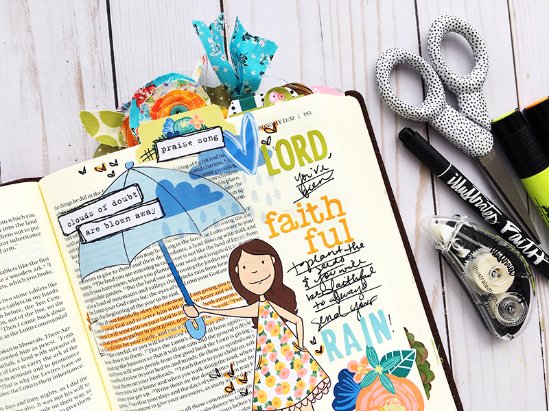 hybrid printable mixed media bible journaling entry by Bailey Robert | Words of Worship: Seasons Change
