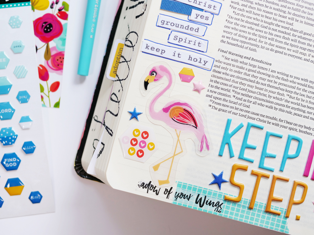 Bible journaling entry by Andrea Gray | Keep In Step - A look at Galatians 5: 25