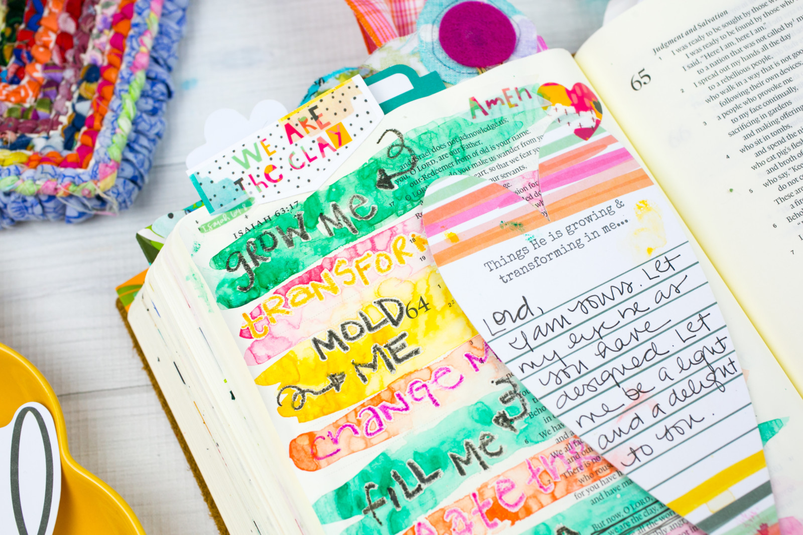mixed media watercolor Bible journaling tutorial by Amy Bruce | Watercolor Tutorial | Resist Technique - We are the Clay