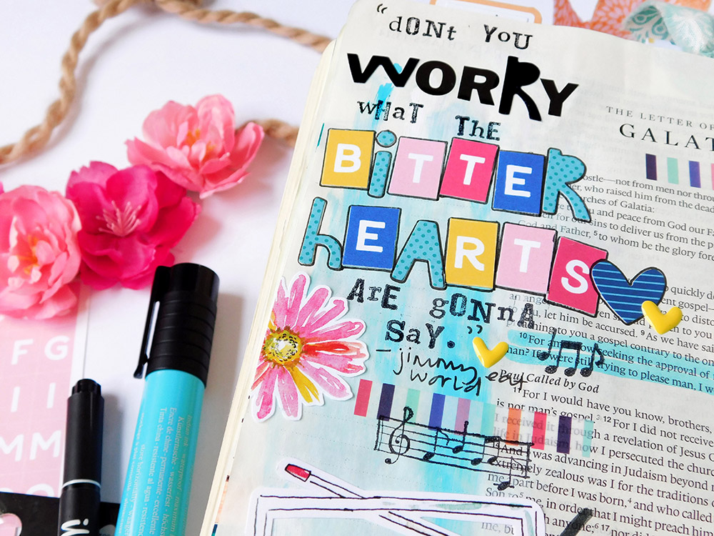 hybrid bible journaling with printables by Elaine Davis | Don't Worry About the Bitter Hearts