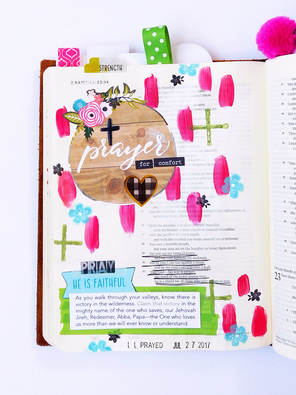mixed media art journaling Bible entry by Elaine Davis | When the Words Don't Come to You, Pray Anyway
