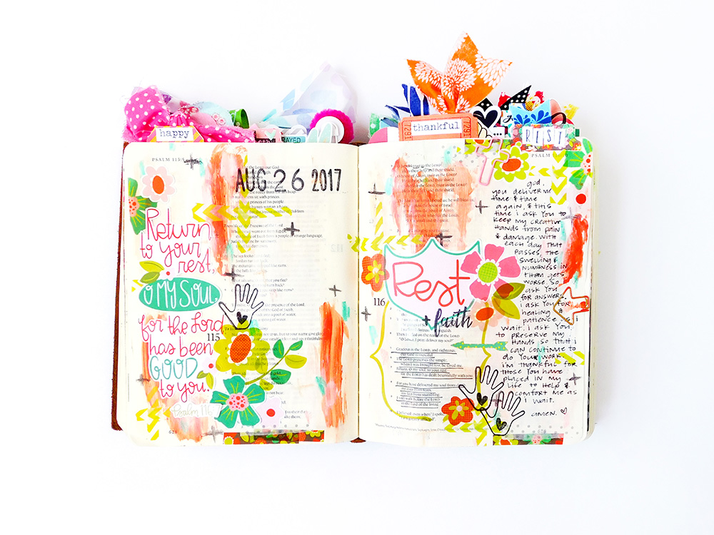 hybrid printables mixed media Bible journaling entry by Elaine Davis | The Importance of Restful Worship