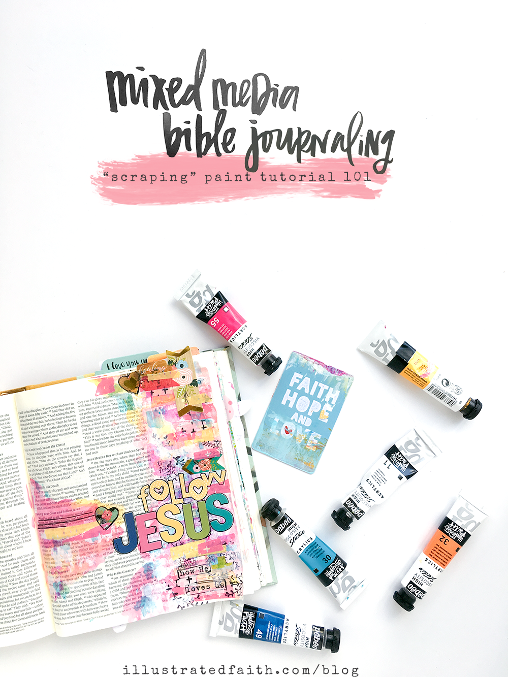 mixed media Bible journaling tutorial - scraping paint 101 by Heather Greenwood
