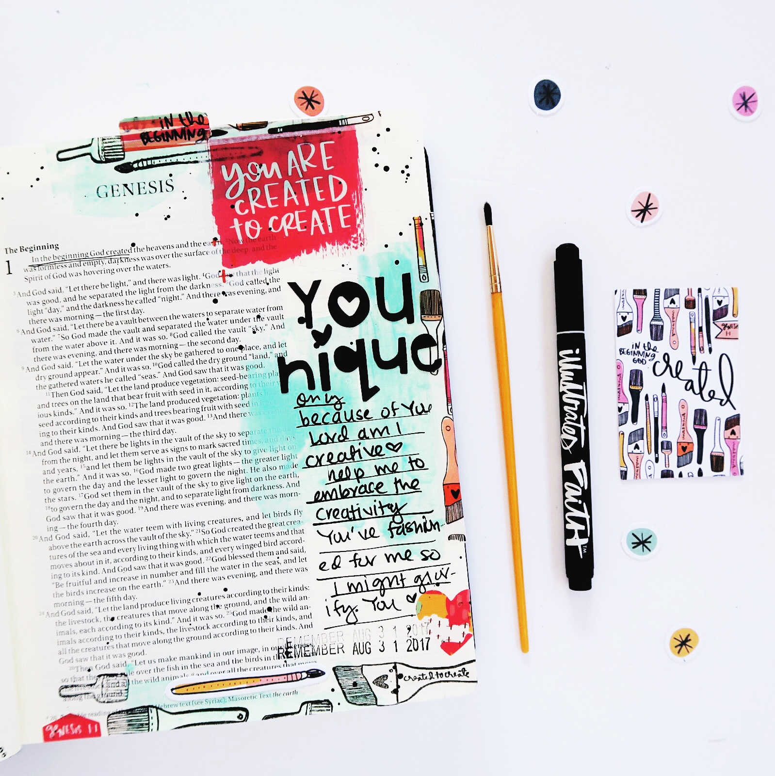 Bible journaling entry by Jillian Ungerbuehler   Created to Create 2 week 1   Process Video