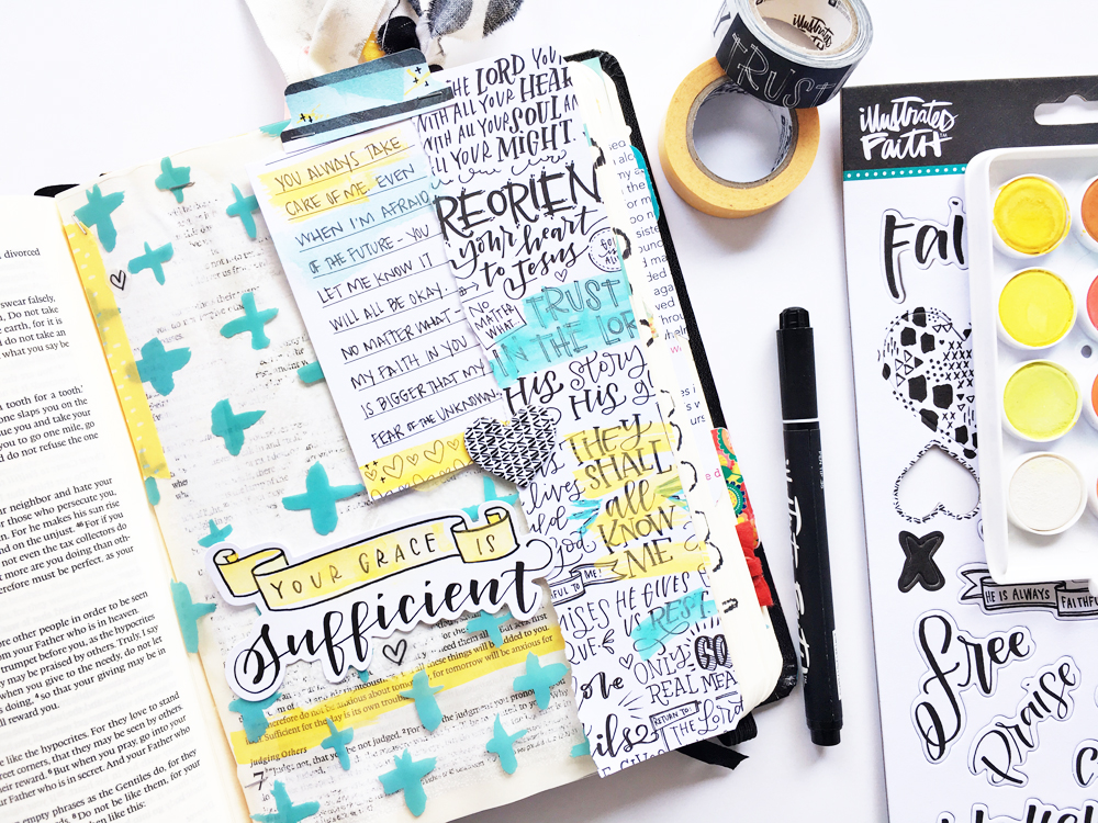 mixed media Bible journaling entry by Andrea Gray | Growing your Faith and Conquering Fears | Illustrated Faith by Bella Blvd Faith>Fear Collection