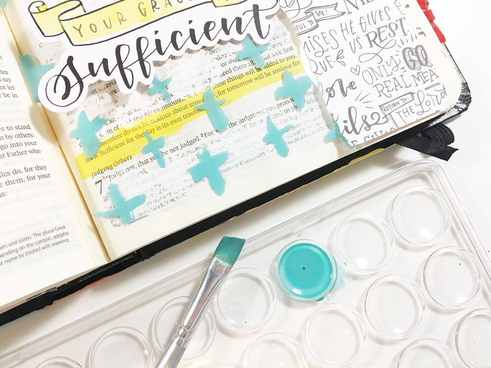 mixed media Bible journaling entry by Andrea Gray   Growing your Faith and Conquering Fears   Illustrated Faith by Bella Blvd Faith>Fear Collection