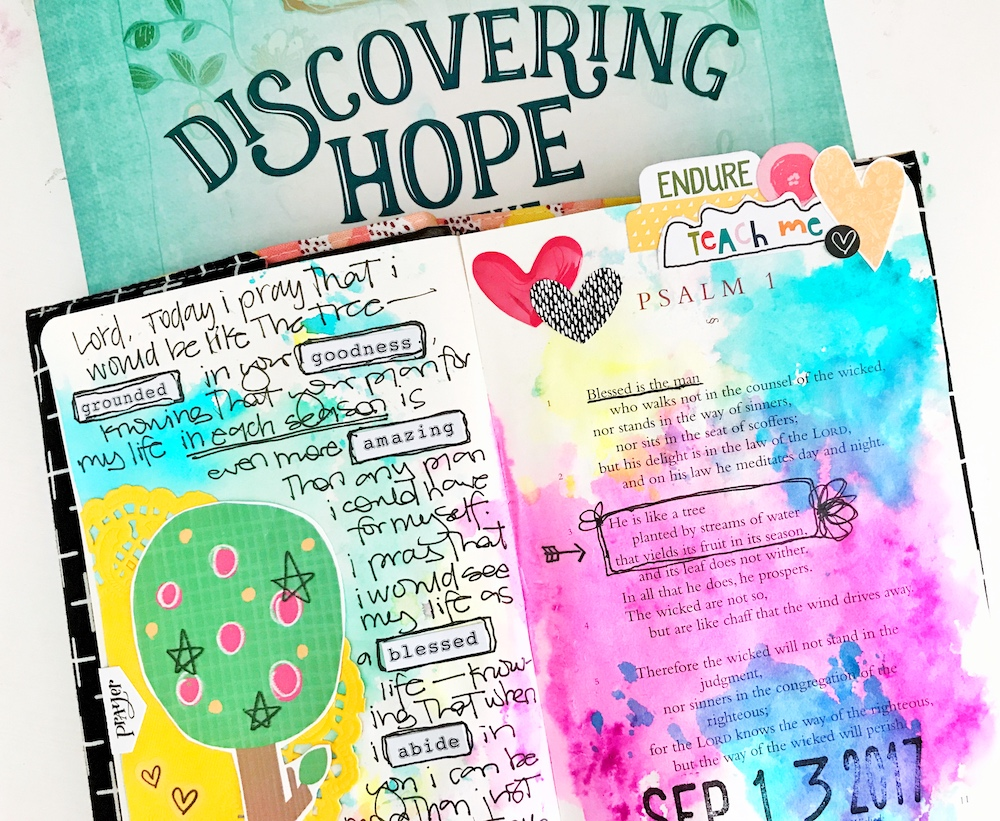 mixed media Bible journaling entry by April Crosier | The Psalms -- Blessed Hope