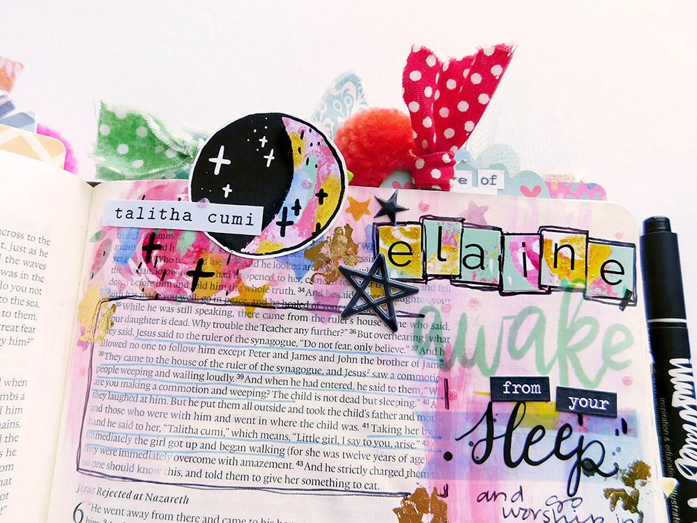 hybrid Bible journaling entry by Elaine Davis using digital printables | The Faithful Sleepwalker | Mark 5