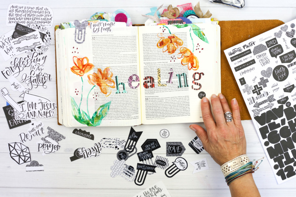 Watercolor Bible Journaling Tutorial by Amy Bruce | Simple Flowers and Alphas - Healing God