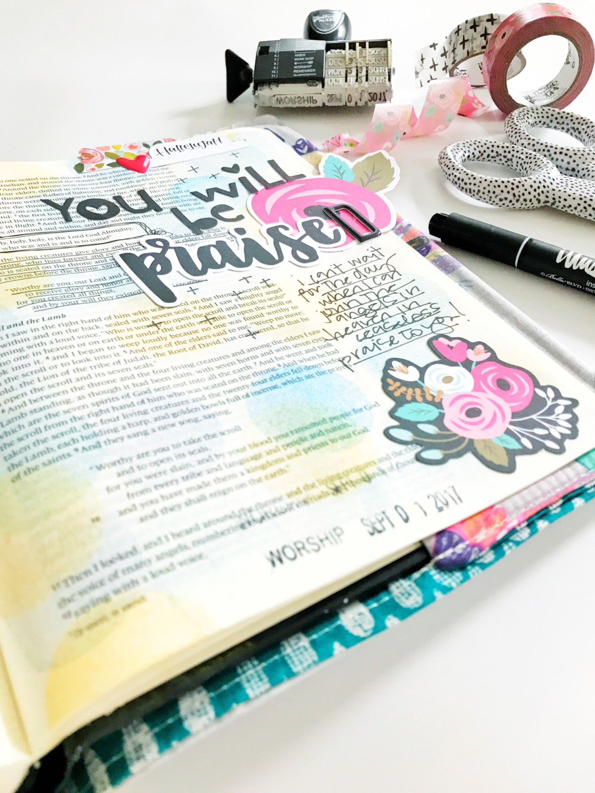 Bible journaling entry by April Crosier | You Will Be Praised | Revelation 4:8-11
