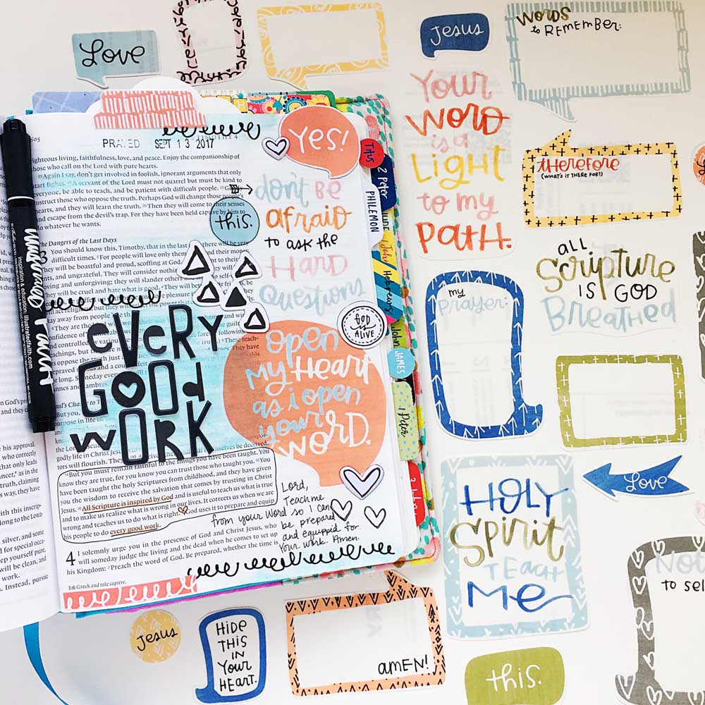 hybrid Bible journaling entry by Cristin Howell using digital printables | Every Good Work