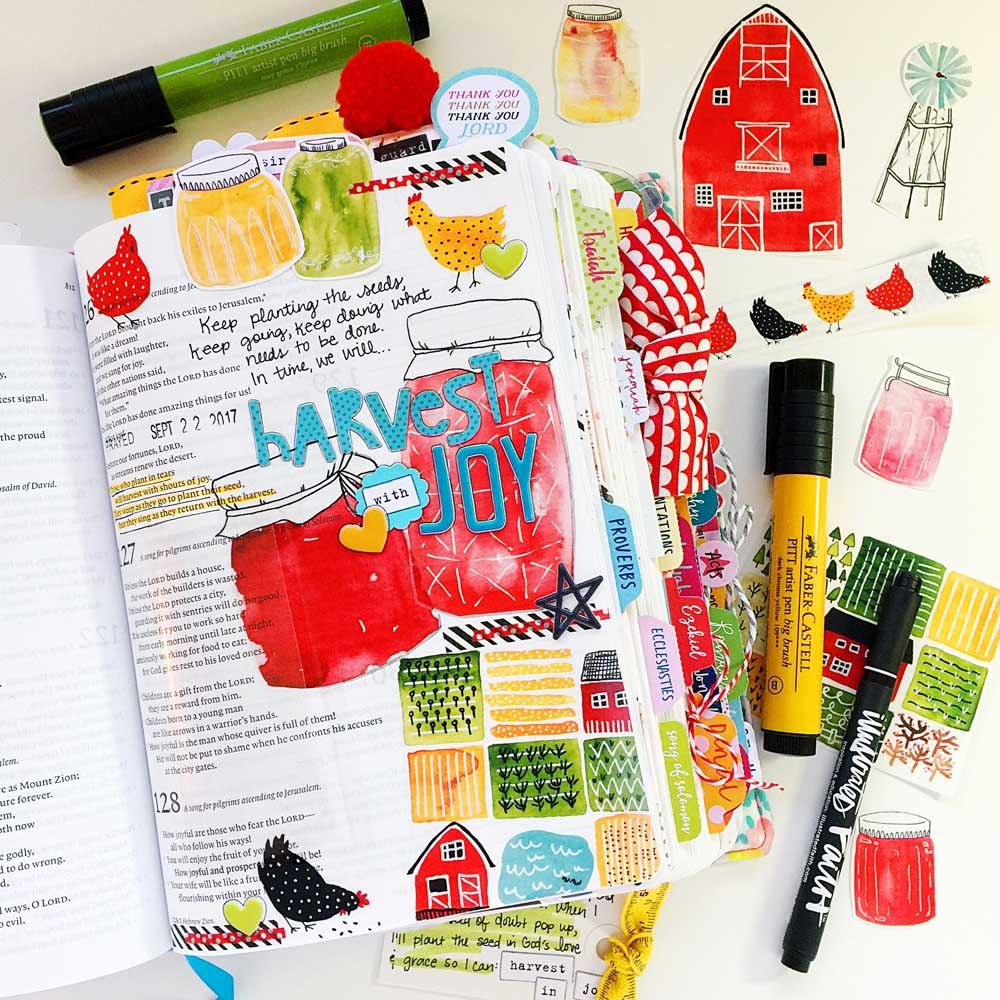 hybrid Bible journaling entry using digital printables by Cristin Howell | Harvest With Joy