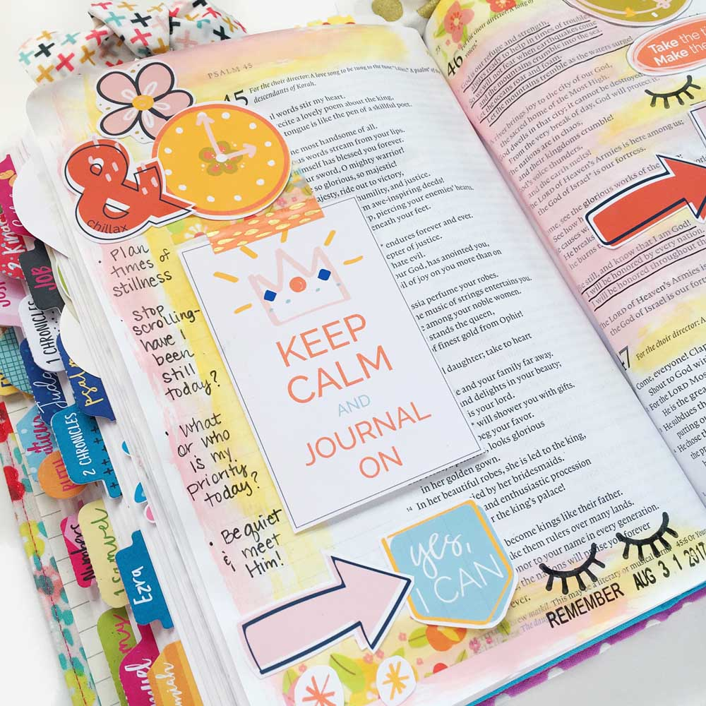 hybrid Bible journaling entry using digital printables by Cristin Howell   Time to Rest