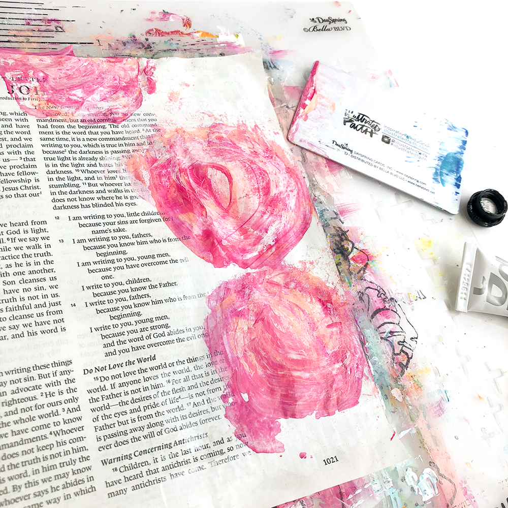 mixed media Bible journaling tutorial by Heather Greenwood | scraping paint in curved shapes to create flowers