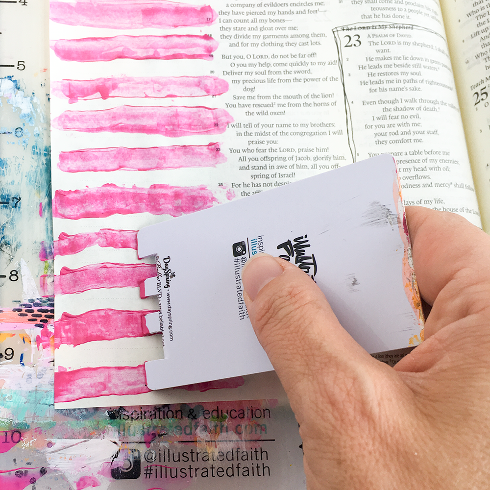 mixed media Bible journaling tutorial - scraping paint stripes by Heather Greenwood | Illustrated Faith Faith>Fear Collection