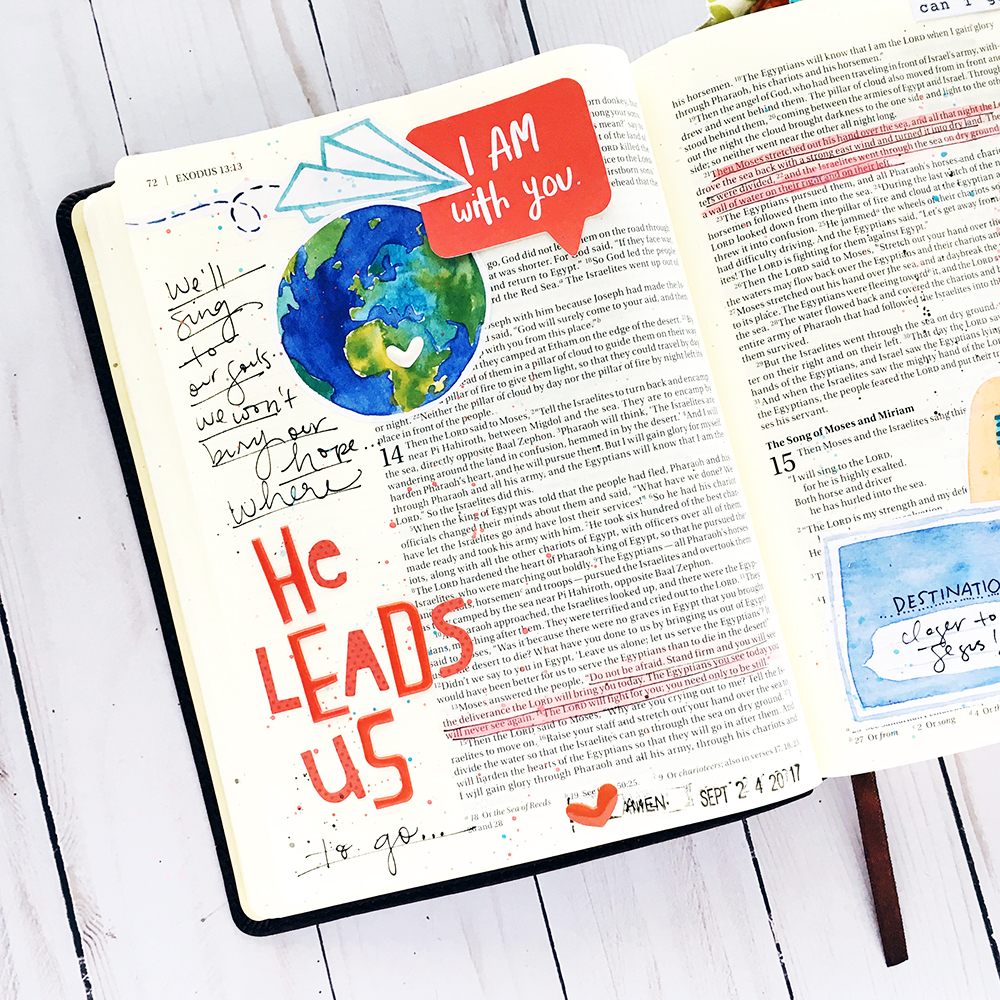 hybrid Bible journaling entry by Bailey Robert using digital printables | Words of Worship: Red Sea Road