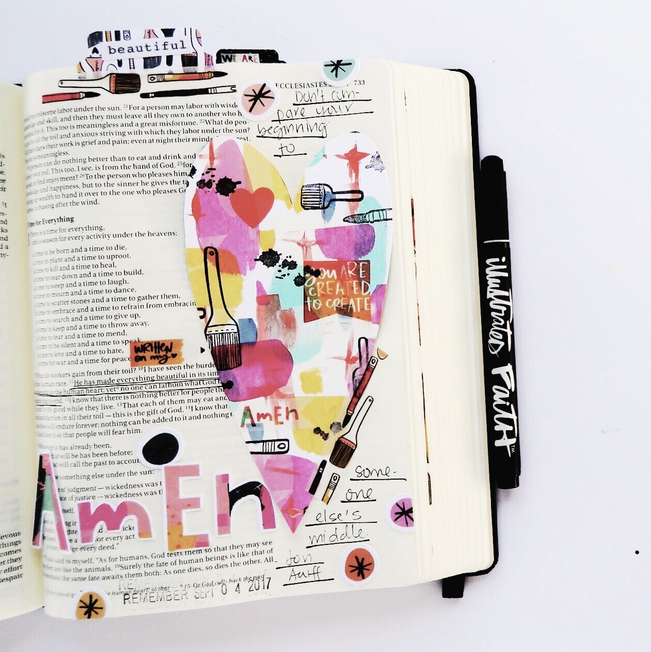 mixed media DIY Bible journaling tip-in by Jillian Ungerbuehler   Created to Create week 3   process video