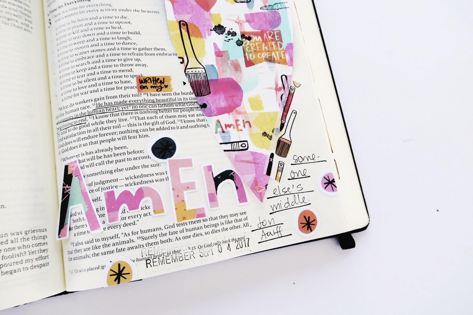 mixed media DIY Bible journaling tip-in by Jillian Ungerbuehler | Created to Create week 3 | process video