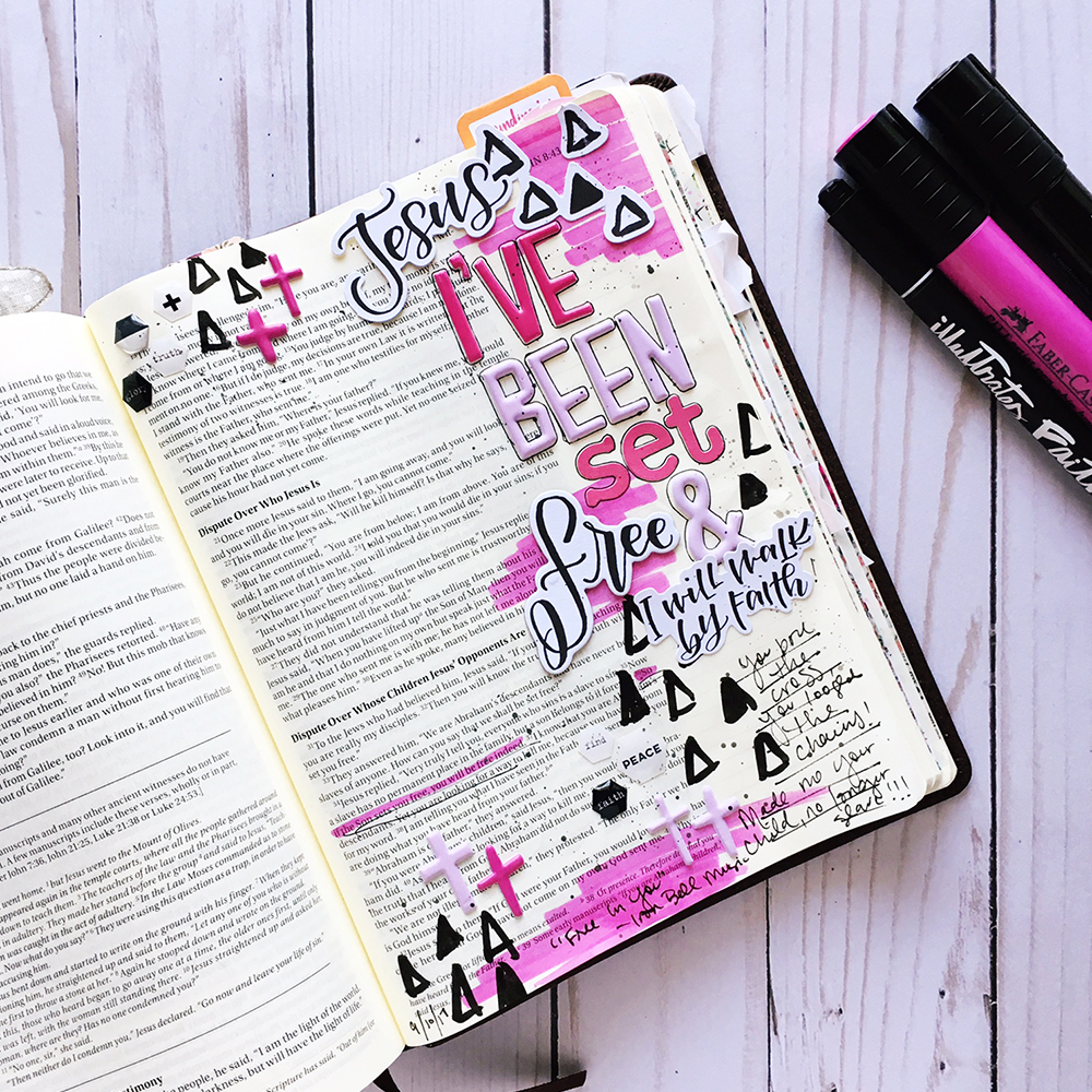 mixed media Bible journaling entry by Bailey Robert | Words of Worship: Free In You | Illustrated Faith Faith>Fear Collection