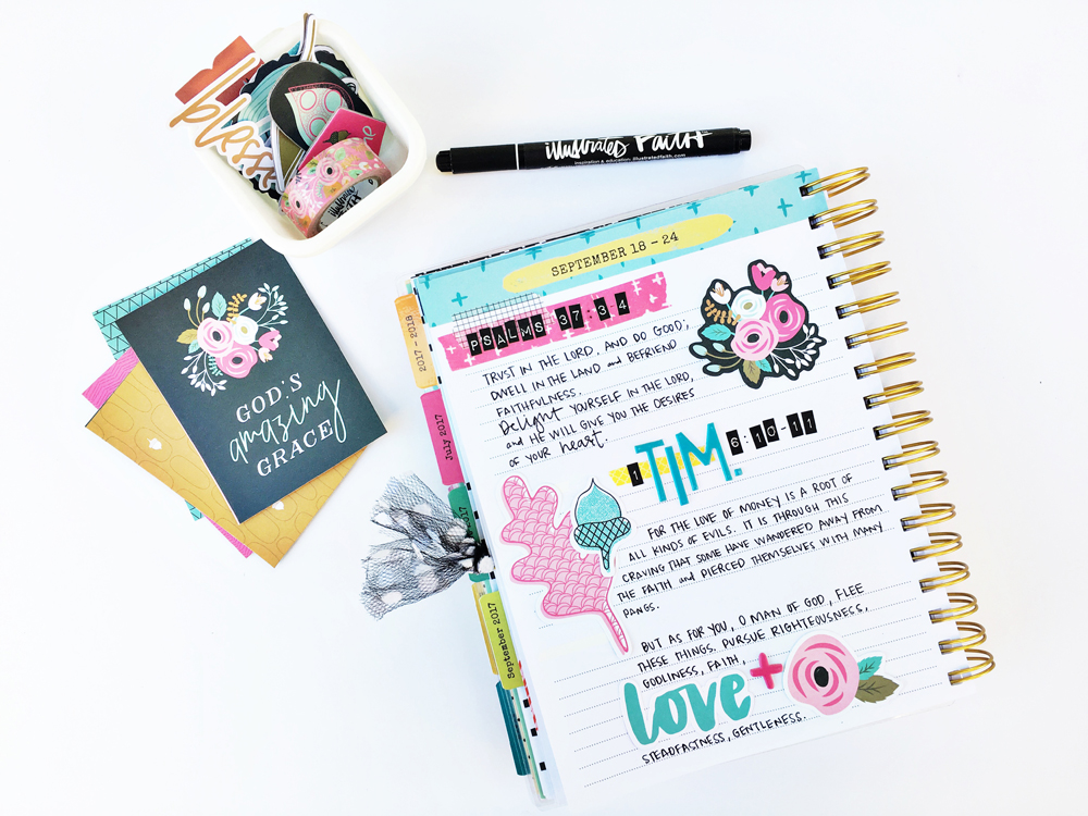 scripture writing planner decorating by Andrea Gray | So Grateful for the Word | Illustrated Faith Gratitude Documented