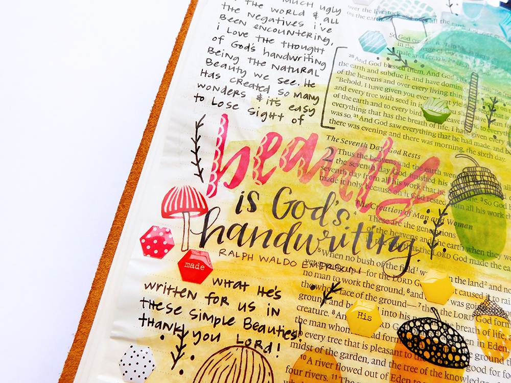 mixed media hybrid printables bible journaling entry by Elaine Davis | Reading God's Handwriting