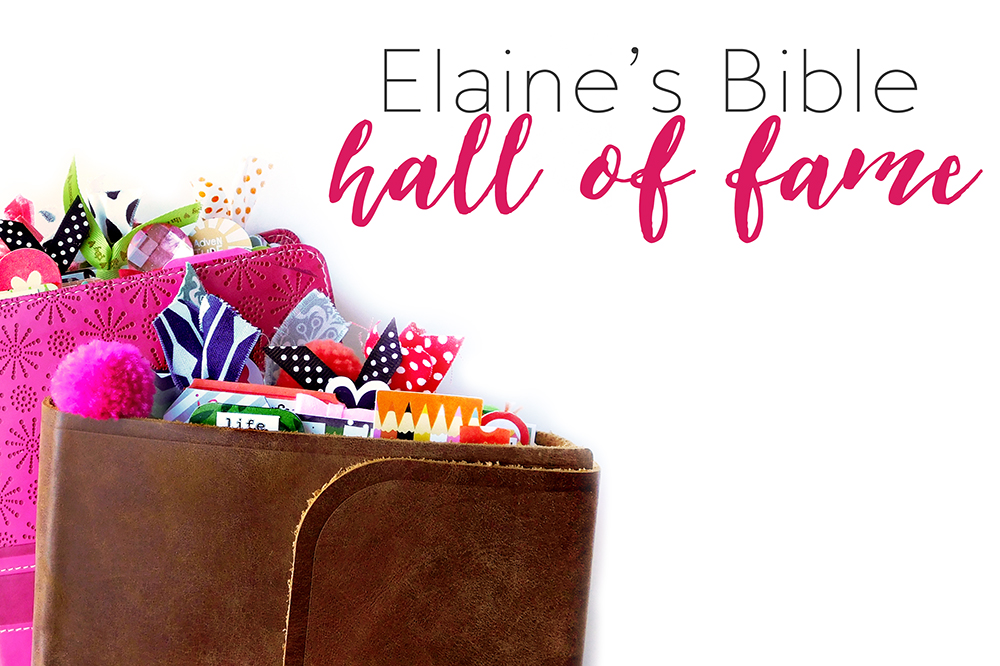 Bible journaling by Elaine Davis using hybrid digital printables | Elaine's Bible Hall of Fame Round-Up