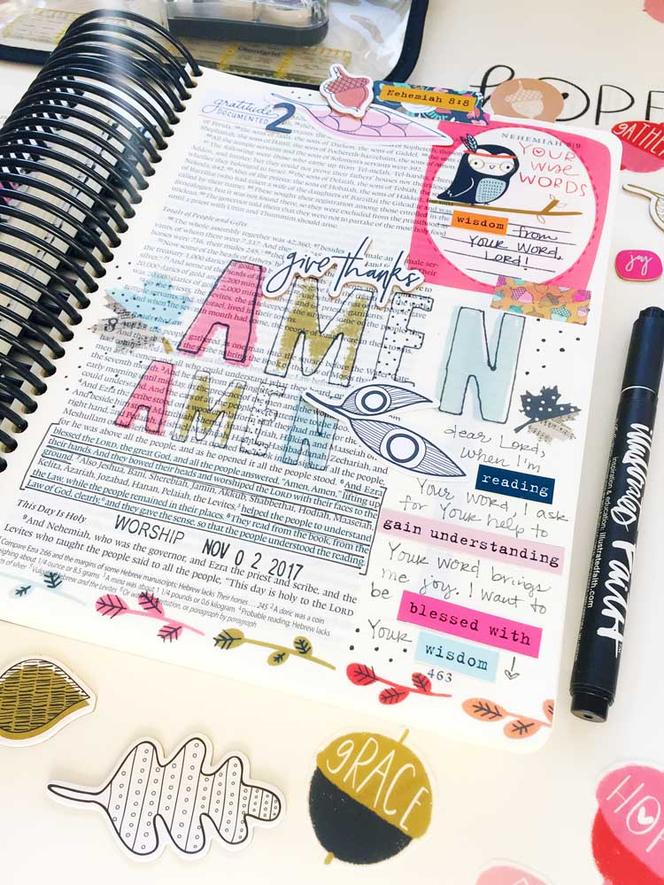 hybrid digital printable Bible journaling entry by Cristin Howell | Gratitude Documented Day 2 | Reading [Nehemiah 8:8]
