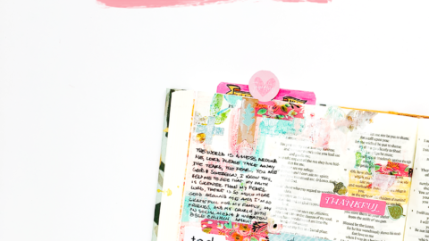 mixed media Bible journaling – painting with stamps