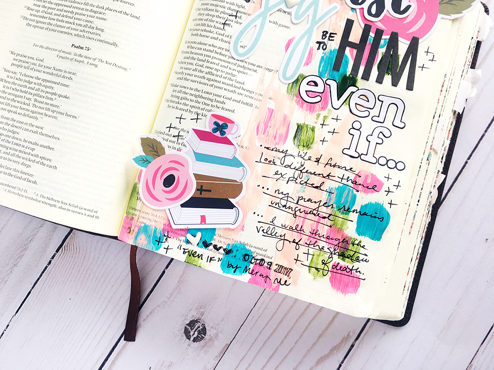 mixed media Bible journaling entry by Bailey Robert | Words of Worship: Even If