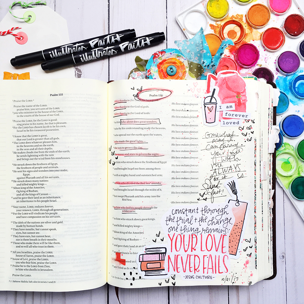Bible journaling entry by Bailey Robert | Words of Worship: Your Love Never Fails