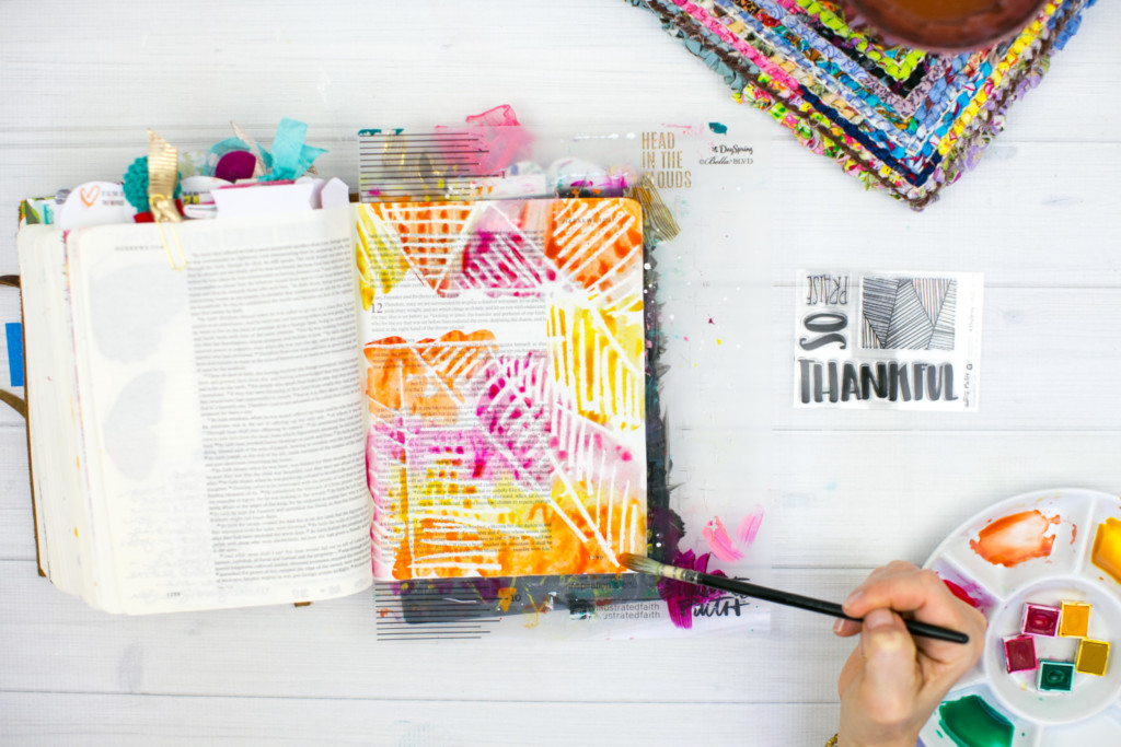 Gratitude Documented Day 8 | Jesus [Hebrews 12:2] | Watercolor Bible Journaling Tutorial - Resist Method with Wax Sticks by Amy Bruce