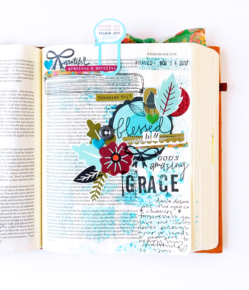 hybrid Bible Journaling by Elaine Davis using digital printables | Gratitude Documented Day 14 | Grace [Nehemiah 9:17] | Illustrated Faith Print and Pray