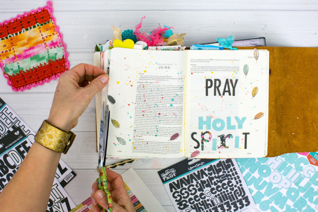 Bible journaling entry by Amy Bruce | Gratitude Documented Day 15 | Holy Spirit [Jude 17-21] | Watercolor Tutorial - Splatters and Wax