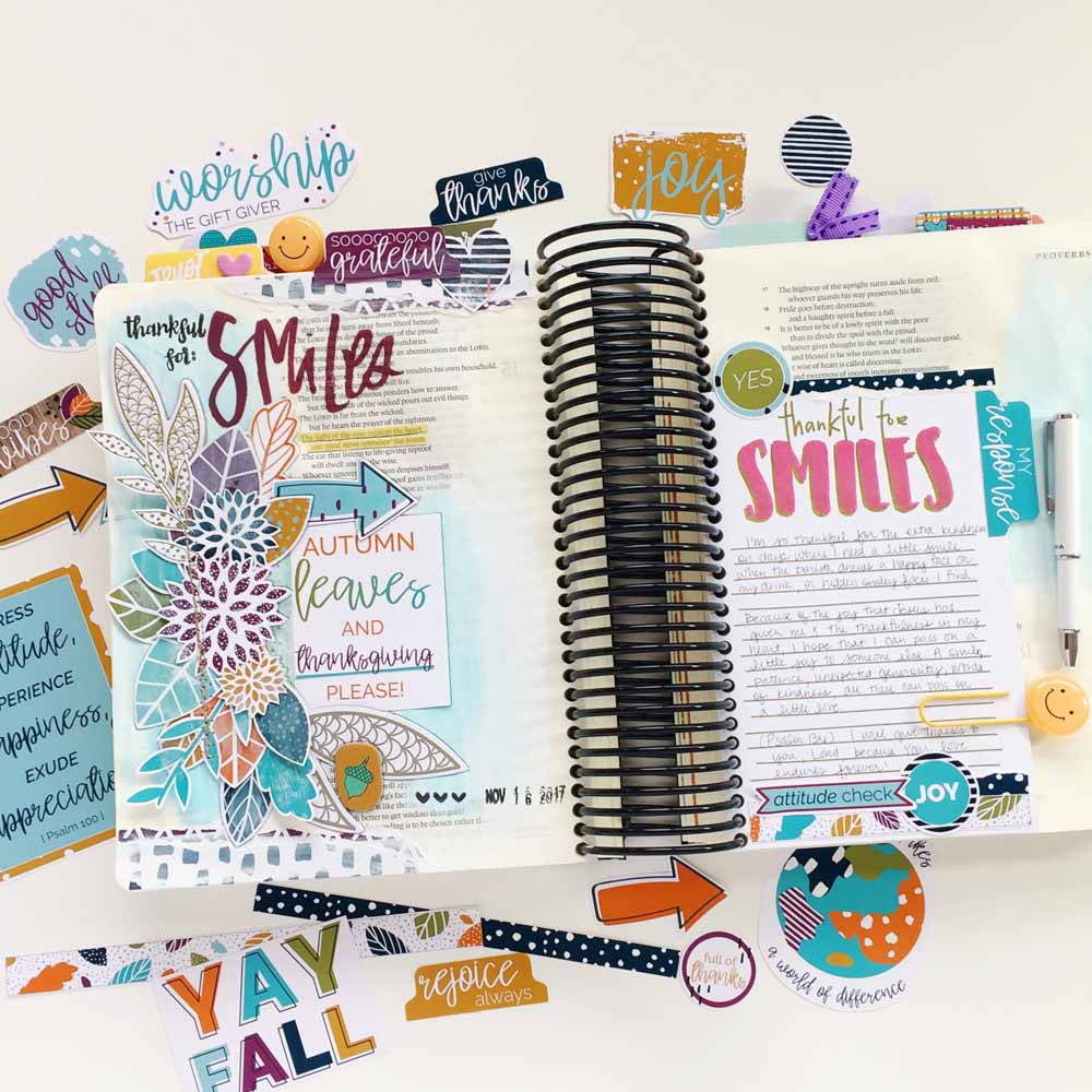hybrid Bible journaling entry by Cristin Howell using digtial printables | Gratitude Documented Day 16 | Smiles [Proverbs 15:30]