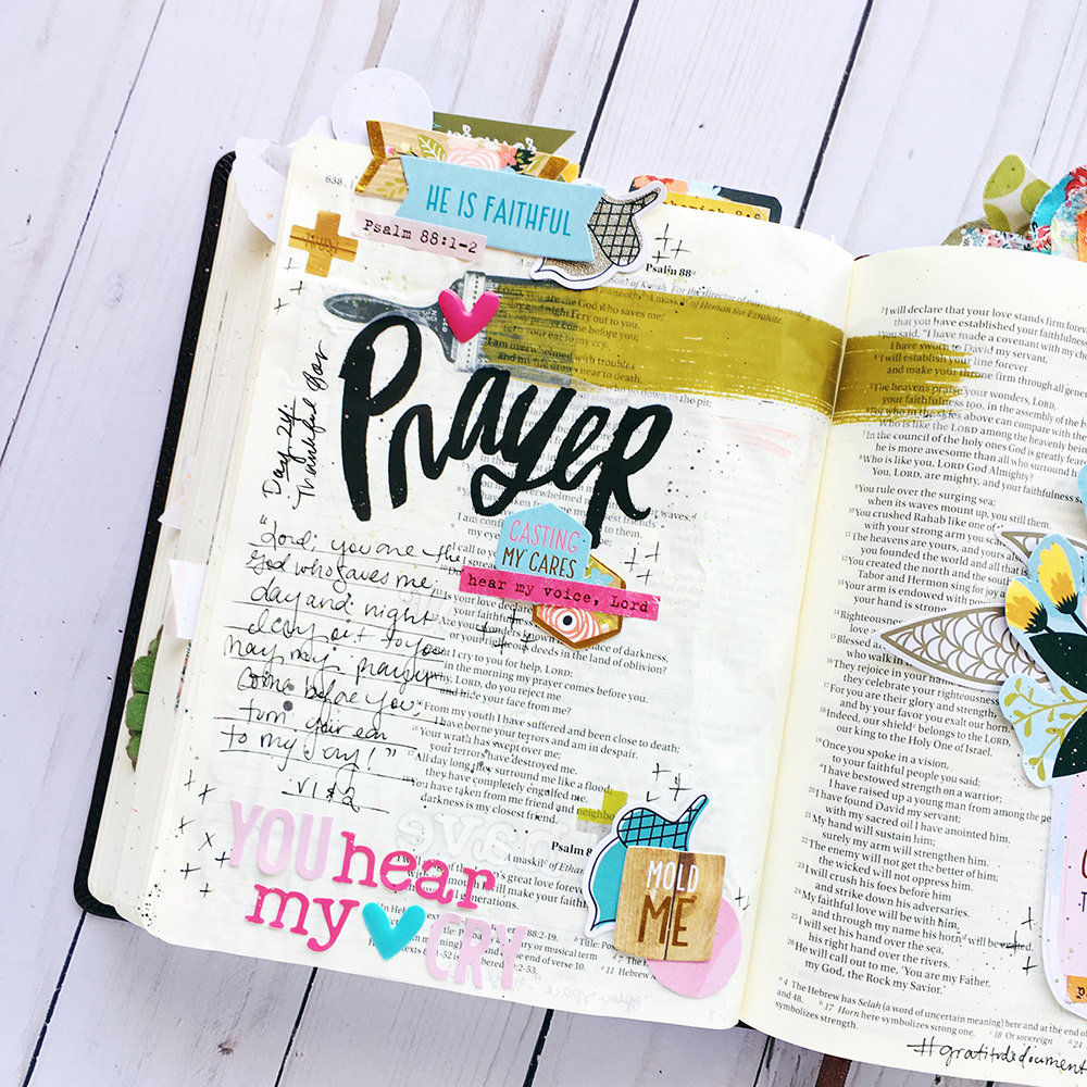 Bible journaling entry by Bailey Robert | Gratitude Documented Day 24 | Prayer [Psalm 88:1-2]
