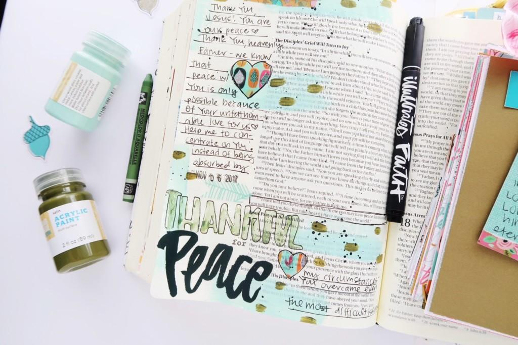 mixed media bible journaling entry by Jillian Ungerbuehler | Gratitude Documented Day 6 | Peace [John 16:33]