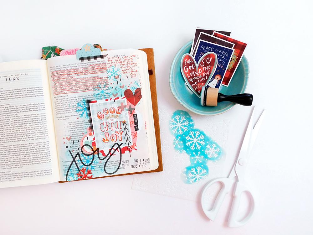 hybrid Bible journaling entry using digital printables by Elaine Davis | Great Joy Through Fear