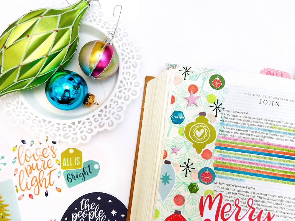 hybrid Bible journlaing using digital printables by Elaine Davis | What Makes the Season Merry & Bright