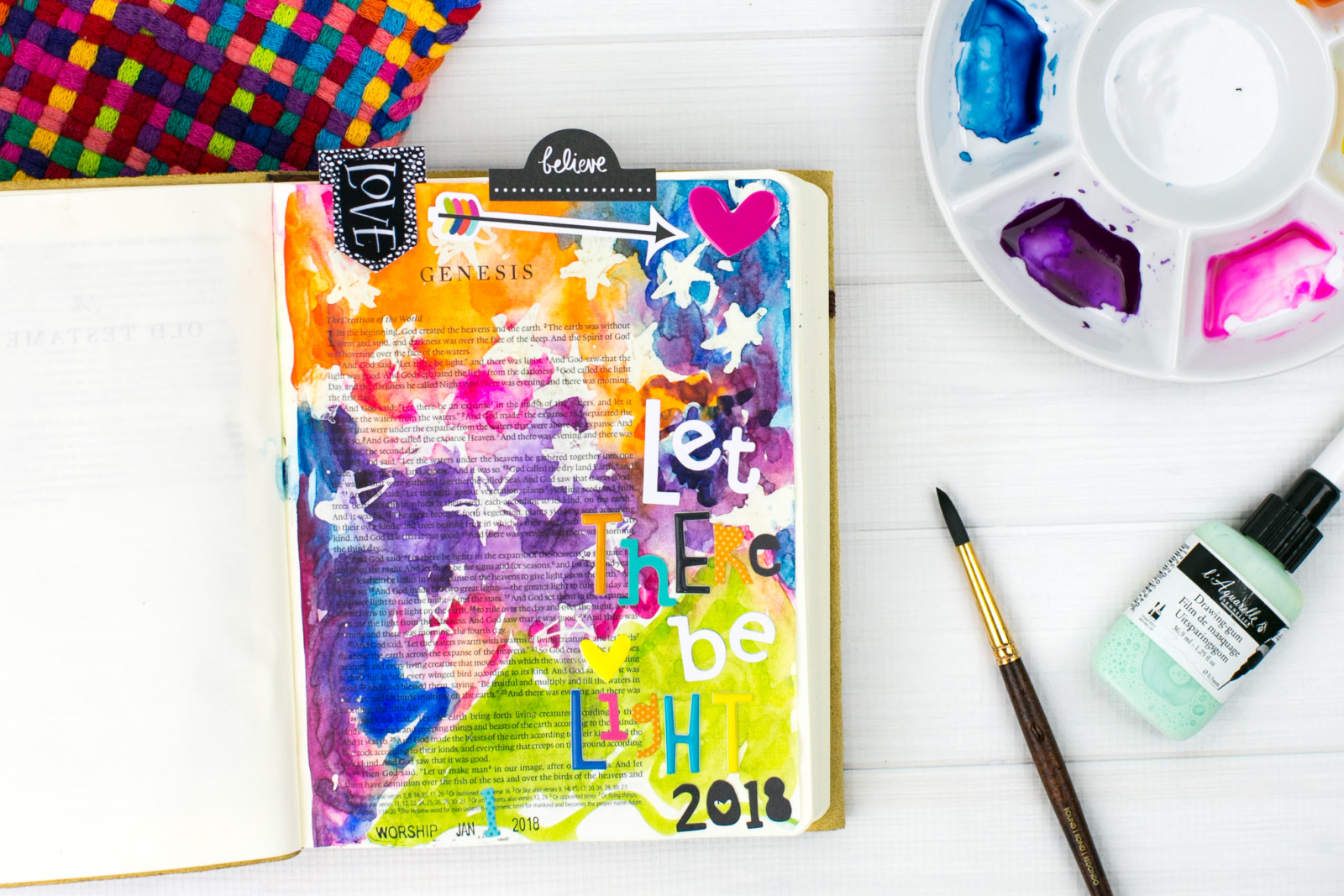 Bible journaling and watercolor tutorial by Amy Bruce | Let there be Light - Using Masking Fluid