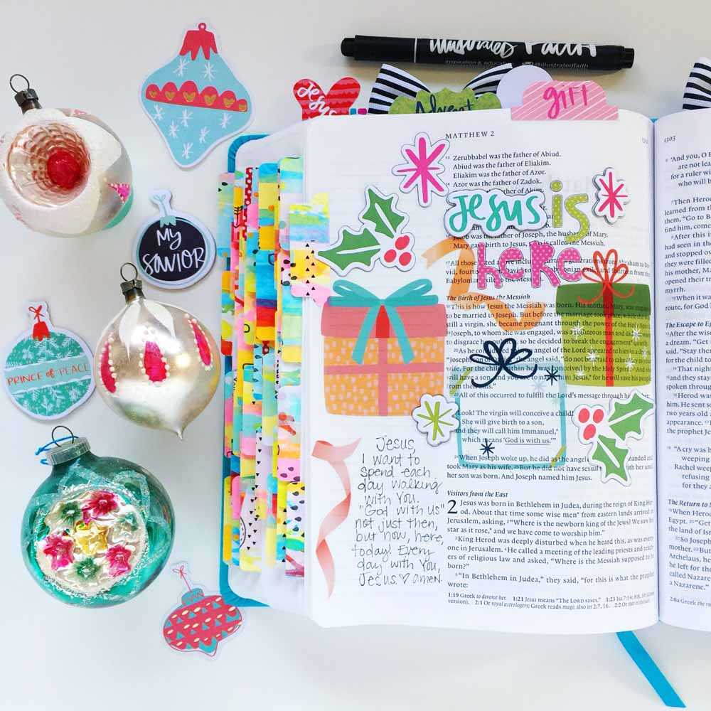 hybrid Bible journal entry using digital printables by Cristin Howell | Jesus is Here