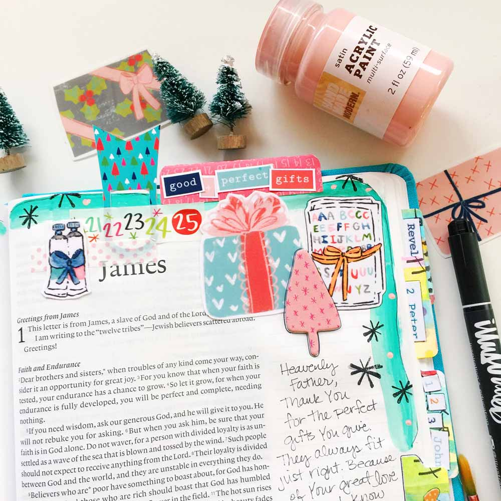 hybrid Bible journaling entry using digital printables by Cristin Howell | Good and Perfect Gifts