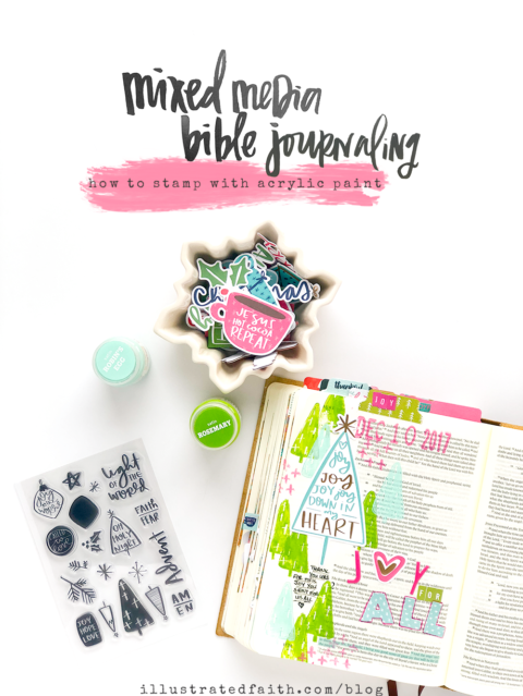 Mixed Media Bible Journaling Tutorial – stamping with paint