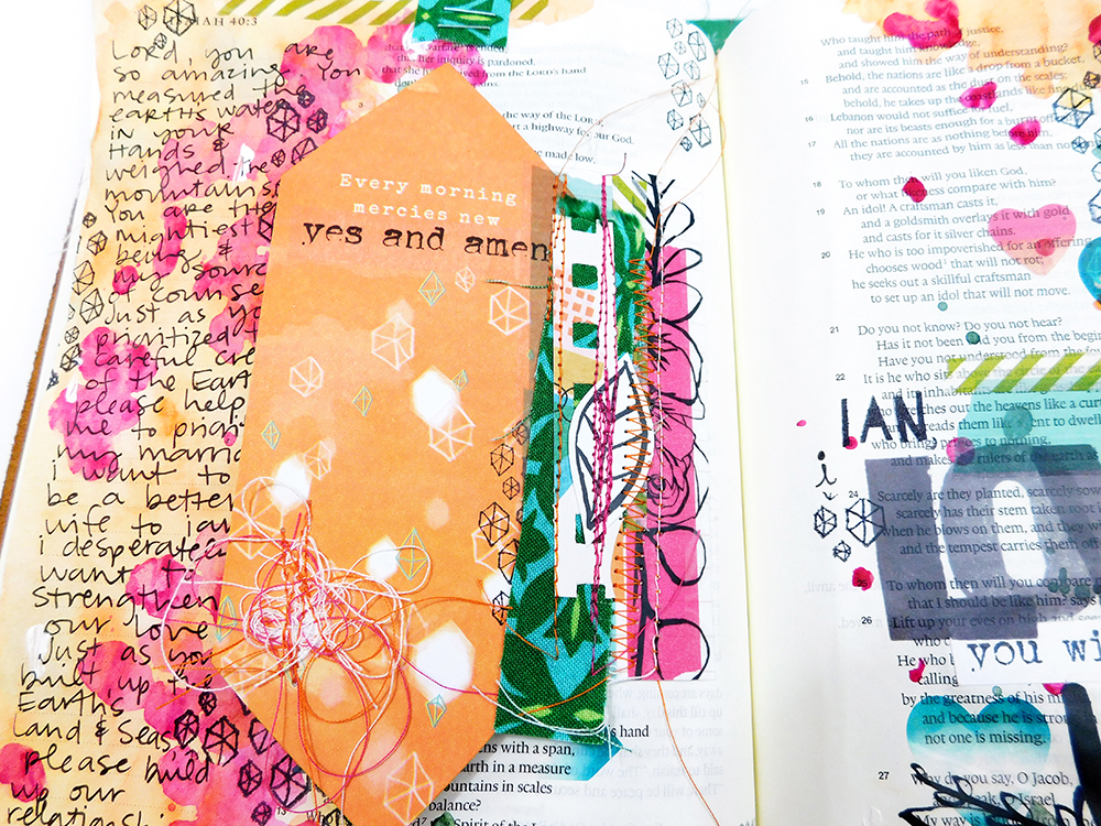 mixed media Bible journaling entry by Elaine Davis using hybrid printables | Mixing Printables with Devotional Kits