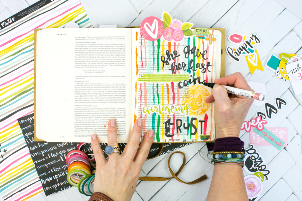 mixed media Bible Journaling Tutorial by Amy Bruce | Adding Texture with Pencil Rubbings - Widows Coin