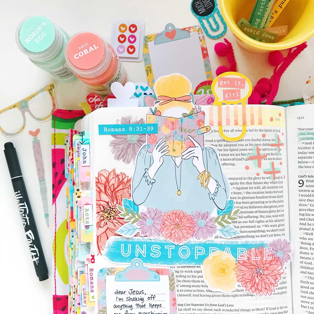 Hybrid Bible Journaling using Print & Pray digital printables by Cristin Howell | Unstoppable