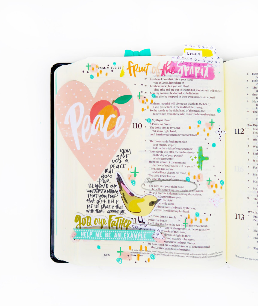 mixed media Bible journaling entry by Shanna Noel | Winter 2018 New Release Illustrated Faith Fruit of the Spirit by Bella Blvd