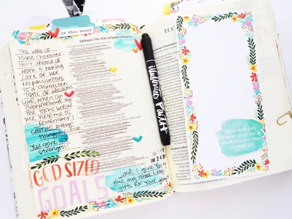Bible Journaling Process Video by Jillian aka Hello Jillsky   Print and Pray Shop Back to Basics   #if_goals Home Goals