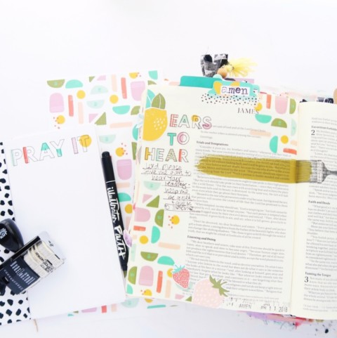 Print and Pray hybrid Bible journaling process video | Ears to Hear